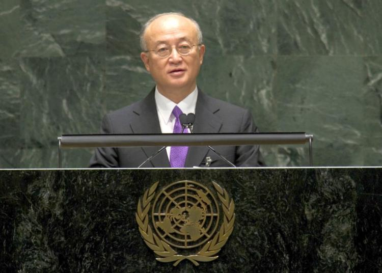IAEA Director General Yukiya Amano speaks during the 2010 High-level Review Conference of the Parties to the Treaty on the Non-Proliferation of Nuclear Weapons May 3 at the United Nations in New York. (Don Emmert/AFP/Getty Images)