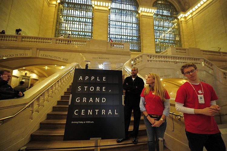 A view of the entrance of the latest Apple store set inside Grand Central Station