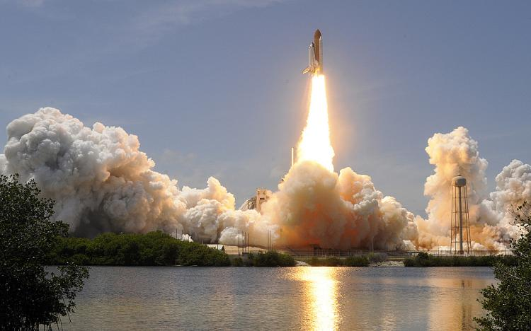 The Space Shuttle Atlantis lifts off on May 14, 2010 at NASA's Kennedy Space Center in Cape Canaveral, Florida. (Bruce Weaver/AFP/Getty Images)