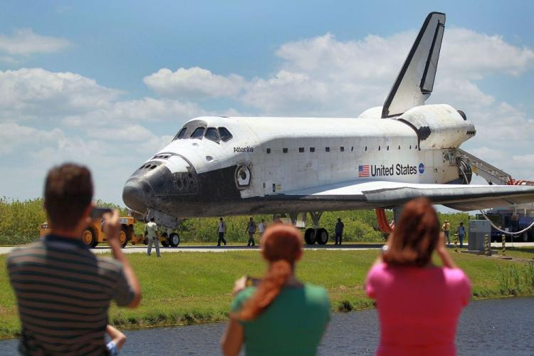 The Space Shuttle Atlantis returns to the shuttle landing facility at Kennedy Space Center May 26 in Cape Canaveral, Florida. The astronauts completed a 12-day mission to the International Space Station. (Joe Raedle/Getty Images)