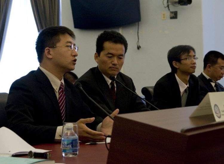 Chinese human rights attorneys update congress on the increased harassment of lawyers defending victims of religious persecution. (Li Sha/The Epoch Times)