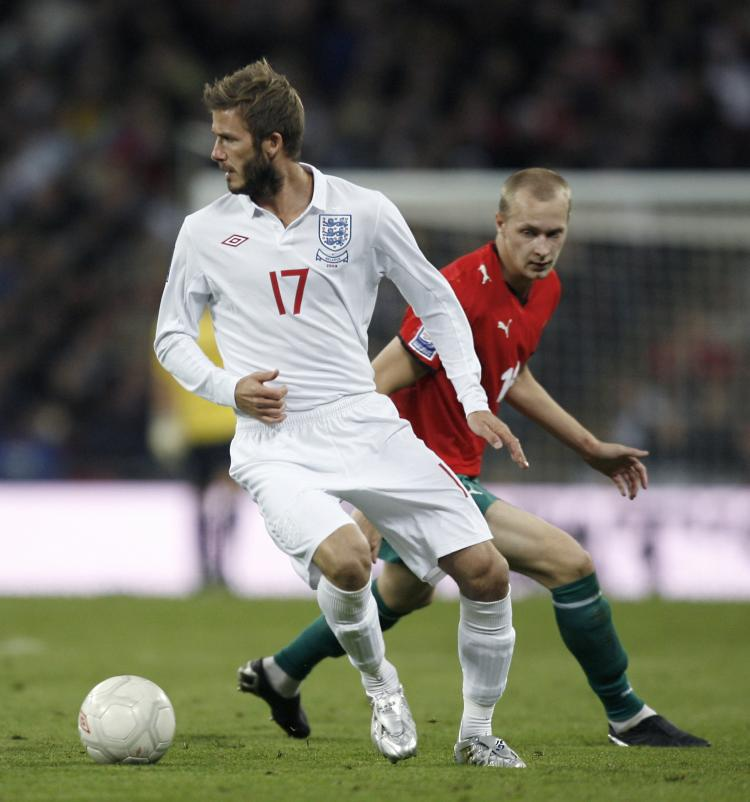 STILL GOT IT: David Beckham was named Man-of-the-Match against Belarus on Wednesday. (IAN KINGTON/AFP/Getty Images)