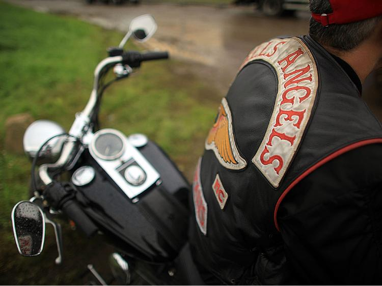 ORGANIZED CRIME: Hell's Angel's gangs, widely recognized as an outlaw motorcycle gang, have moved steadily to find legitimate business activities in Canada. Pictured are gang members in England. (Christopher Furlong/Getty Images)