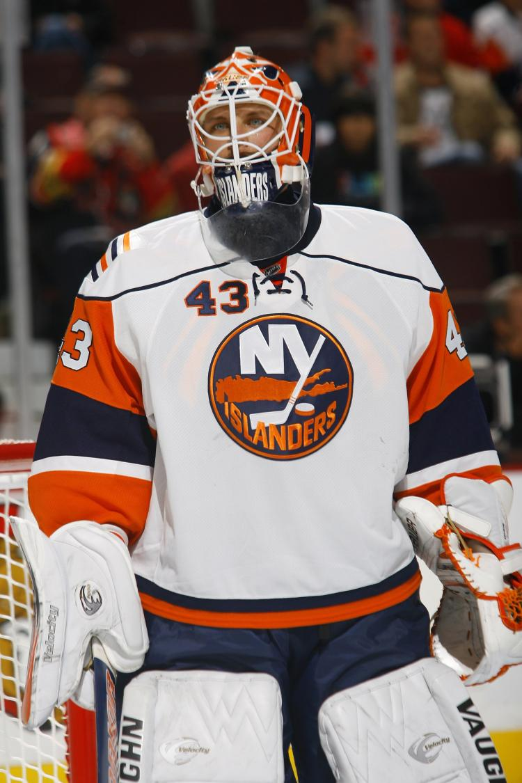 STOPPED 28 SHOTS: Marty Biron had a solid performance against the Habs on Monday night. (Phillip MacCallum/Getty Images)
