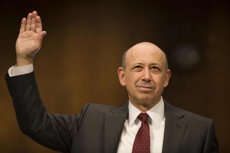 Goldman Sachs CEO Lloyd Blankfein is sworn in prior to testifying before a Senate investigative committee on Capitol Hill on April 27. (Jim Watson/Getty Images)