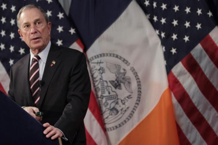 GREENING THE CITY: Mayor Michael Bloomberg speaks at Columbia University on Thursday about a new center that he says will foster green buildings and technology.  (Amal Chen/The Epoch Times)