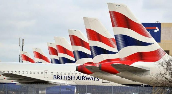 British Airways planes are grounded at Heathrow Airport. (Leon Neal/AFP/Getty Images)