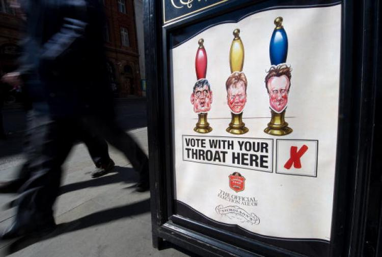 British Election Results Unknown: A pub in central London displays 'an election promotion' featuring the leaders of all three main British political parties, Gordon Brown, Nick Clegg and David Cameron, on May 6, 2010, the day of the vote. (Leon Neal/AFP/Getty Images)