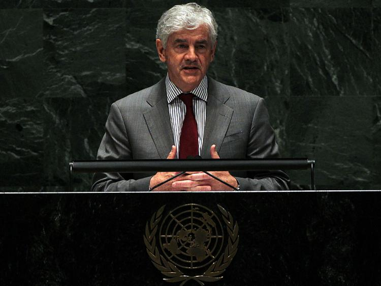 Canadian Foreign Minister Lawrence Cannon speaks at the United Nations 2010 High-level Review Conference of the Parties to the Treaty on the Non-Proliferation of Nuclear Weapons at U.N. headquarters May 3, 2010. (Mario Tama/Getty Images)