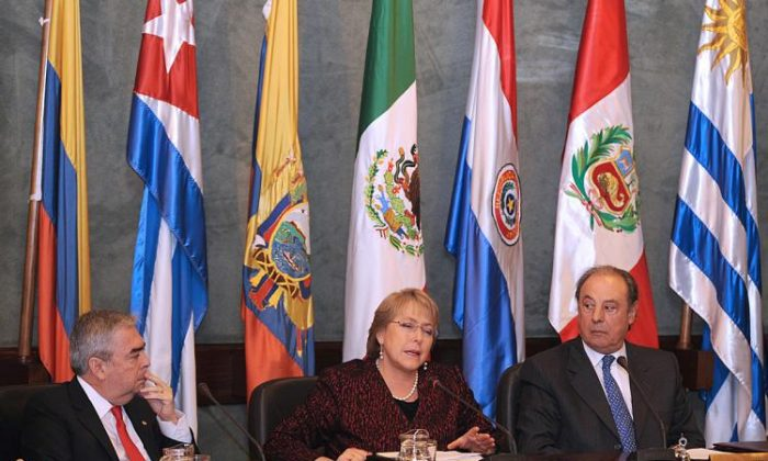 An undated photo shows former Chilean President Michelle Bachelet at a conference. (Miguel Rojo/AFP/Getty Images)