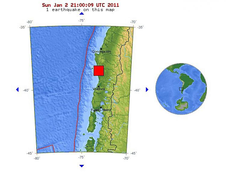 Chile Earthquake: The USGS earthquake location map. (USGS.gov)