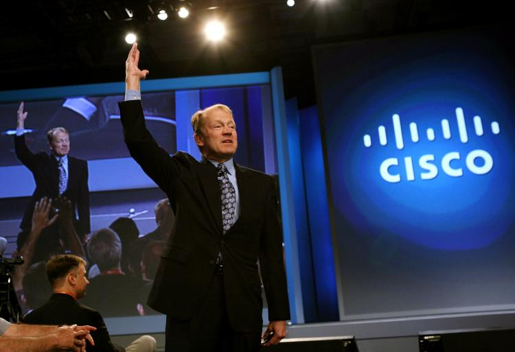 In this file photo, Cisco Chairman and CEO John delivers a keynote address during the RSA Conference in San Francisco, California. Cisco Systems announced that it was buying Starent Networks, which makes multimedia infrastructure for mobile operators. (Justin Sullivan/Getty Images)