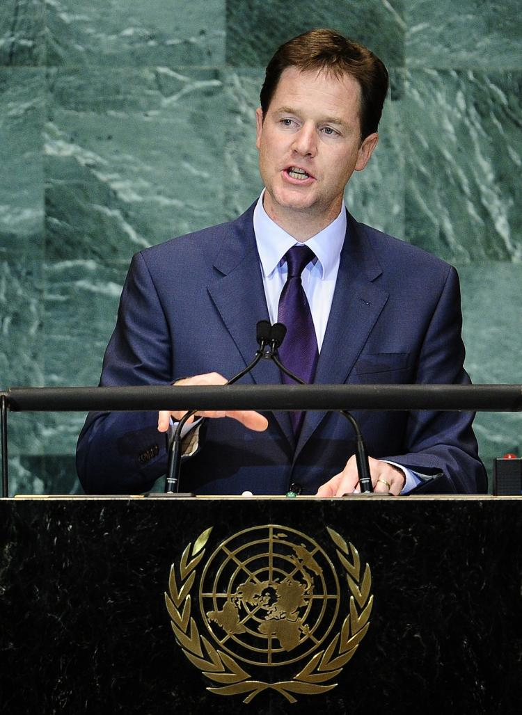 MEET THE GOALS: Britain's Deputy Prime Minister Nick Clegg addresses the Millennium Development Goals Summit at the United Nations headquarters in New York on Wednesday, Sept. 22.  (Emmanuel Dunand/Getty Images)