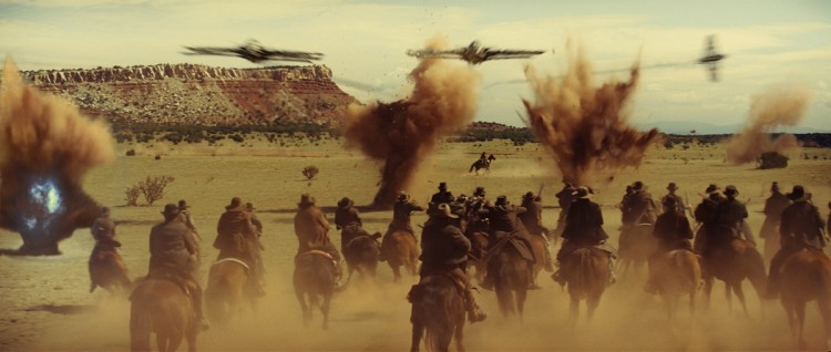BATTLE GROUND: Cowboys fight for their lives in the action sci-fi thriller film 'Cowboys & Aliens.' (ILM/Universal Studios and DreamWorks II Distribution Co. LLC)