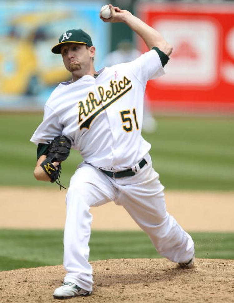 Perfect Game: Dallas Braden, #51 of the Oakland Athletics, pitched a perfect game against the Tampa Bay Rays at the Oakland-Alameda County Coliseum on May 9 in Oakland, California. (Jed Jacobsohn/Getty Images)