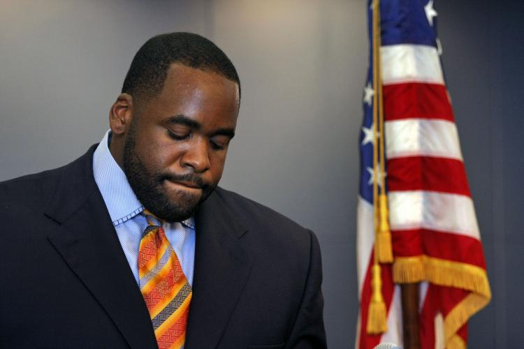 Detroit Mayor Kwame Kilpatrick on September 4, 2008 at his office in Detroit, Michigan. After a violation related to his conviction for lying under oath, Kilpatrick was slapped with a prison sentence of up to 5 years in a Michigan courtroom on Tuesday. (Bill Pugliano/Getty Images)