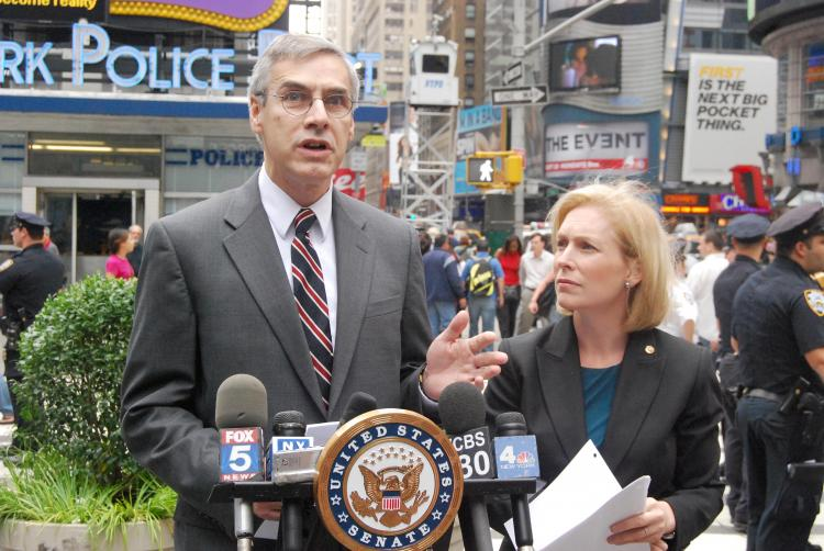 NYPD Deputy Commissioner Richard Daddario (L) and Sen. Kirsten Gillibrand (R) announced receipt of a $18.5 million grant given to New York City by the U.S. Department of Homeland Security to address the threat of radioactive bombs at a press conference in Times Square on Sunday. (Catherine Yang/The Epoch Times)