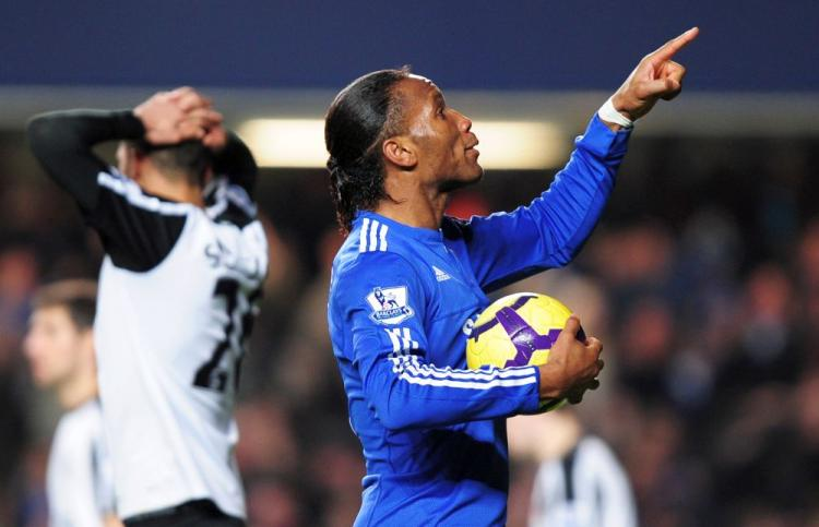 AERIAL DOMINANCE: Chelsea's Didier Drogba is known for his strength in the air. (GLYN KIRK/AFP/Getty Images)