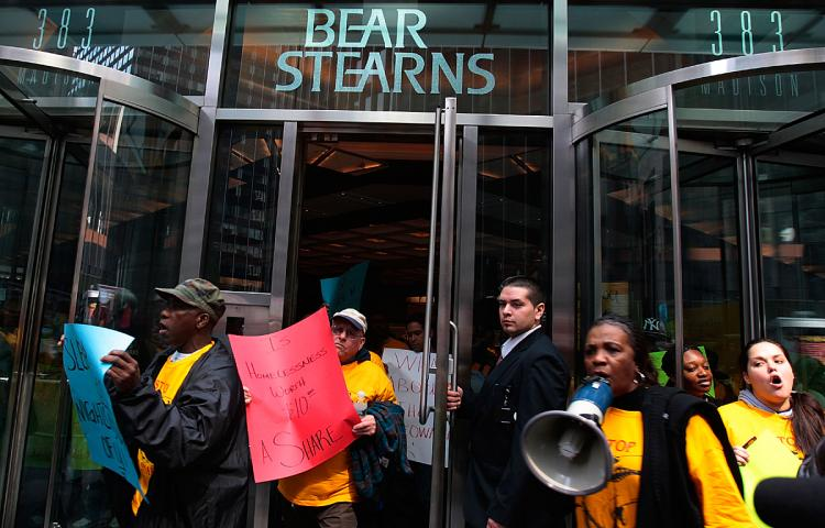 Demonstrators leave Bear Stearns headquarters March 26, 2008 in New York after protesting the government-backed sale and bailout of the investment bank.  (Chris Hondros/Getty Images)