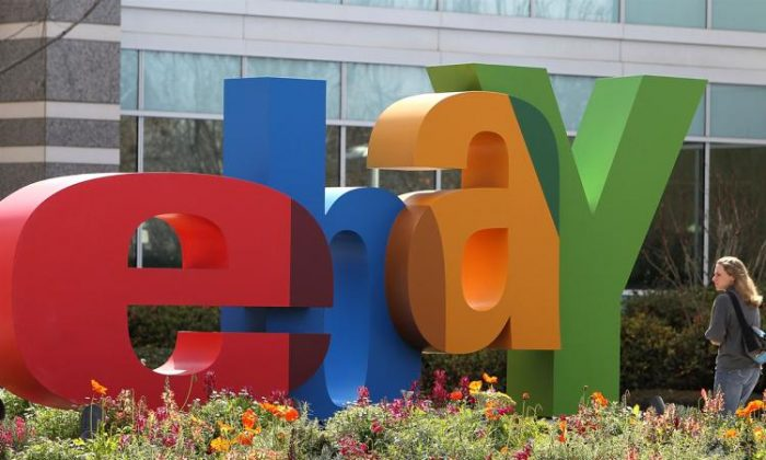The eBay logo at the company's headquarters in San Jose, Calif., on Feb. 24, 2010. (Justin Sullivan/Getty Images)
