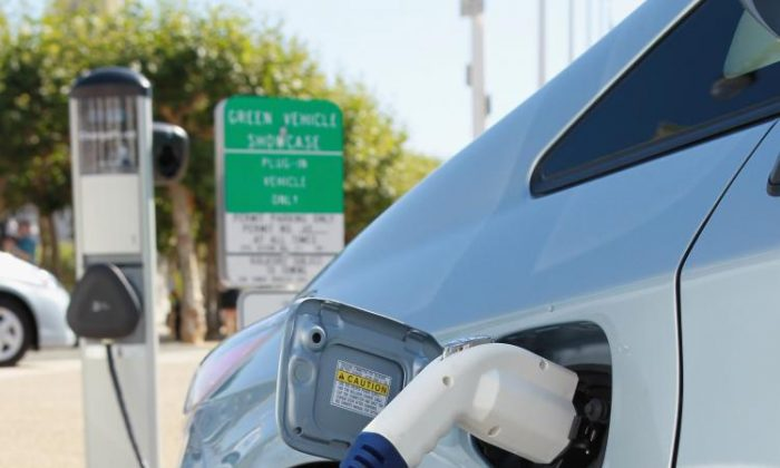 Electric car charging station. The Trump Administration announced in September their decision to withdraw California's waiver from the 2013 Clean Air Act. (Justin Sullivan/Getty Images)