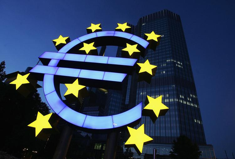 A huge euro logo is seen in front of the headquarters of the European Central Bank (ECB) on June 13, 2005 in Frankfurt, Germany. (Ralph Orlowski/Getty Images)