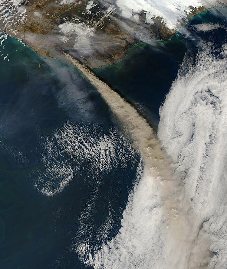 This image from NASA's Aqua satellite shows Iceland's Eyjafjallajokull volcano continuing to emit a dense plume of ash and steam, May 8, 2010. (NASA MODIS/AFP/Getty Images)