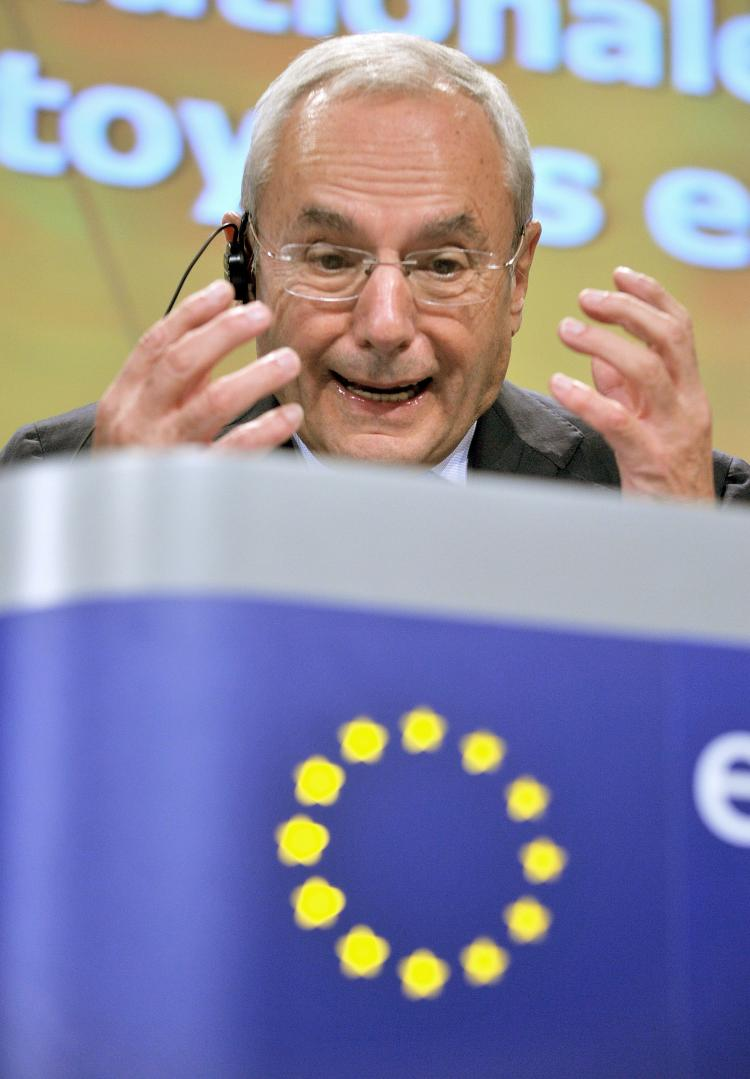 Jacques Barrot, Vice-president of the European Commission, speaks during a press conference in mid-October. He is now advocating standards for how asylum seekers are dealt with across the EU.  (Georges Gobet/AFP Photo)