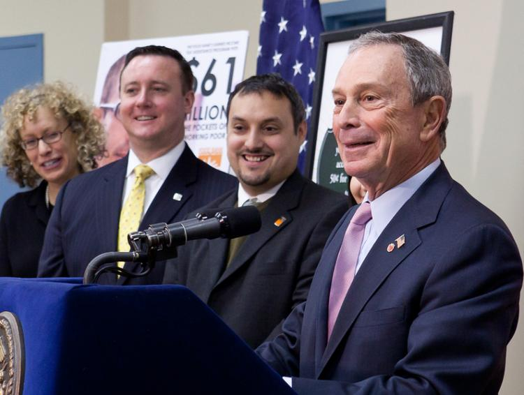 Mayor Michael Bloomberg announced the ninth annual Tax Credit Campaign, which helps New Yorkers file their tax forms for free or at low cost.   (Amal Chen/The Epoch times)
