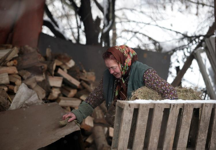 An elderly woman carries a hay at her home near Sofia, Bulgaria on January 8, 2009. Bulgaria struggled to adapt to the gas shortage today as a total cut in Russian deliveries, on which it is entirely dependent for its natural gas needs, ran into its third day. (Boryana Katsarova/AFP)