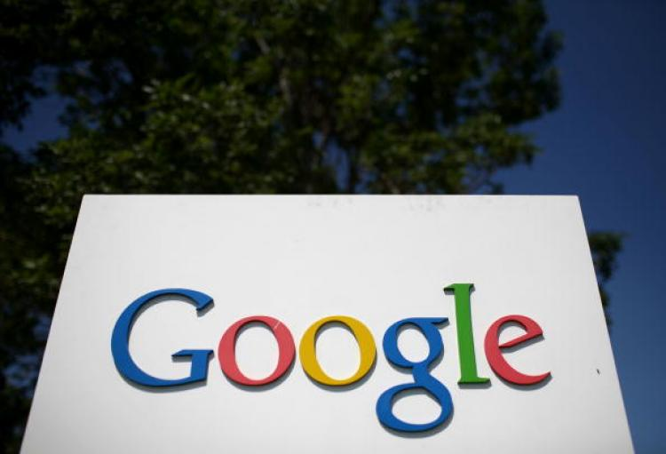 A sign is displayed outside of the Google headquarters.  (Justin Sullivan/Getty Images)