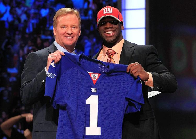 ROYAL BLUE: The New York Giants strengthened their secondary when they selected Nebraska standout corner Prince Amukamara (right) with the 19th pick in the 2011 NFL Draft on Thursday night. (Chris Trotman/Getty Images)