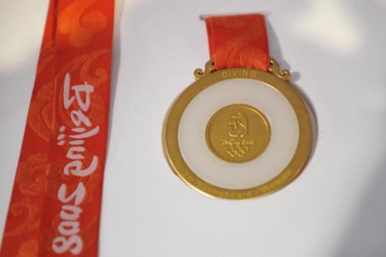 The gold medal for the 2008 Beijing Olympics. (AFP/Getty Images)