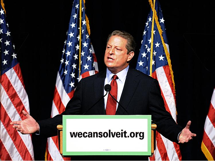 Former U.S. Vice President and Nobel Peace Prize winner Al Gore outlines his vision for the future of U.S. energy needs during a speech at the Daughters of the American Revolution Constitution Hall on July 17, 2008 in Washington, DC.   (Tim Sloan/AFP/Getty Images)