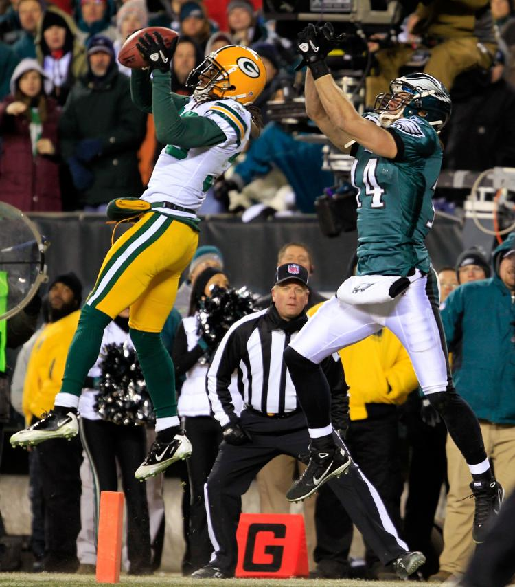 Green Bay Packers cornerback Tramon Williams saved the day for his with his timely interception. (Chris Trotman/Getty Images)