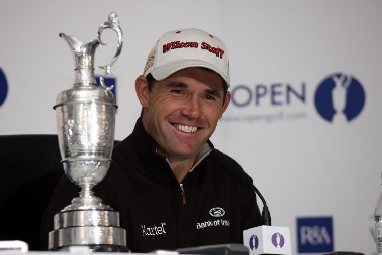 Padraig Harrington of Ireland during his Champion's Press Conference after the 2008 Open Championship held at Royal Birkdale Golf Club, on July 21in Birkdale, England. (David Cannon/Getty Images)