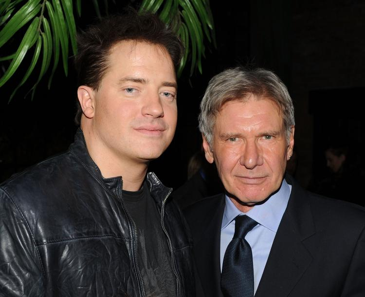 Actors Brendan Fraser and Harrison Ford attend the Cinema Society & John And Aileen Crowley screening of 'Extraordinary Measures' after party at The Bowery Hotel on Jan 21, 2010 in New York City. (Stephen Lovekin/Getty Images)