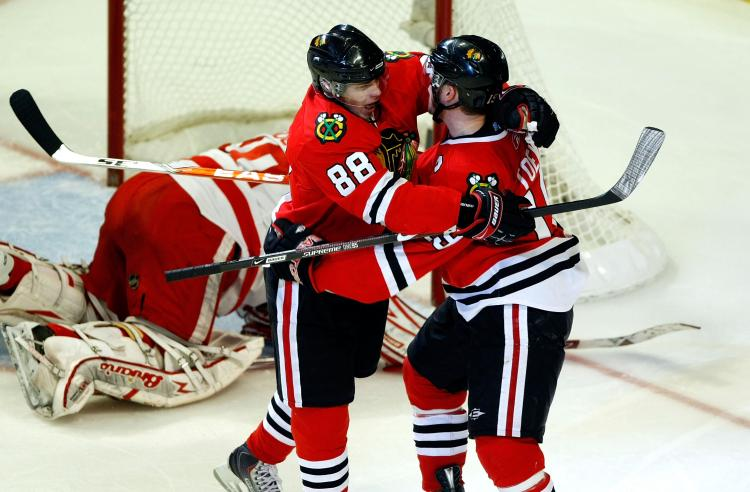 MORE TO COME: Patrick Kane (left) and Jonathan Toews give the Chicago Blackhawks a solid foundation to build on. (Jim Prisching/Getty Images)