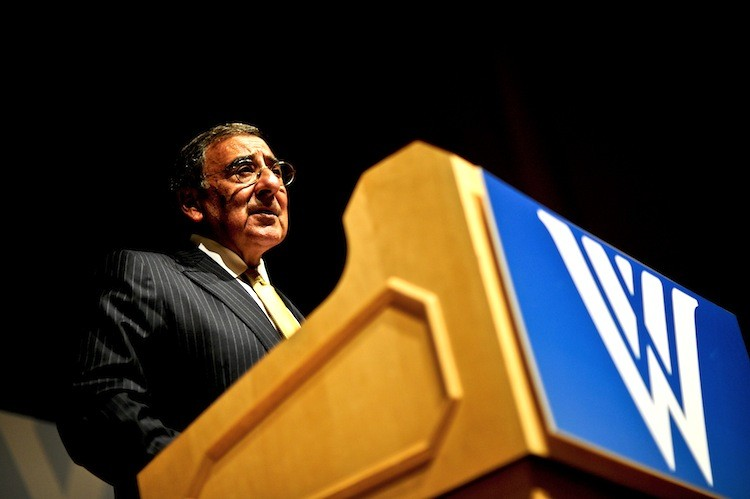 Defense Secretary Leon E. Panetta delivers remarks at an event hosted by the Woodrow Wilson International Center for Scholars in Washington, D.C., Oct. 11.  (DOD photo by Air Force Tech. Sgt. Jacob N. Bailey)