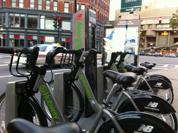 Boston: One of the many Hubway stations located in the city of Boston. The hi-tech solar powered stations allow members to swipe their cards, take a bike and commute to their destinations.  (Steve Gigliotti/Epoch Times)