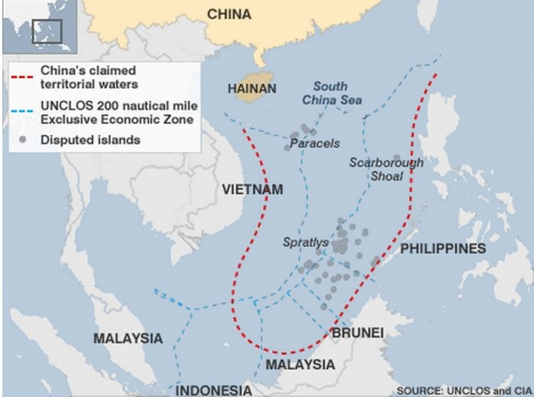 A map showing waters disputed by China in the South China Sea