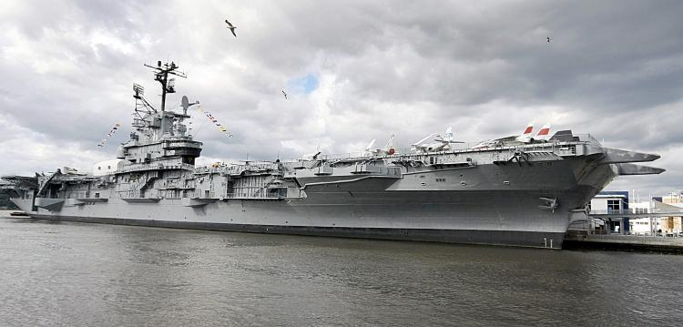 HOMECOMING: The Intrepid Aircraft Carrier, a WWII workhorse, returned to its Hudson River Dock on Thursday after a two year renovation.