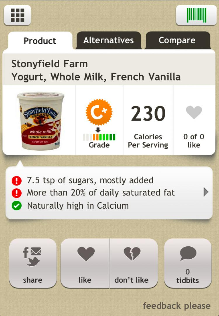 A HEALTHIER CHOICE: A screen-shot of the Fooducate app running on an iPhone. The app allows users to scan the barcodes of food items, and will display health information about its ingredients. (Tan Truong/The Epoch Times)