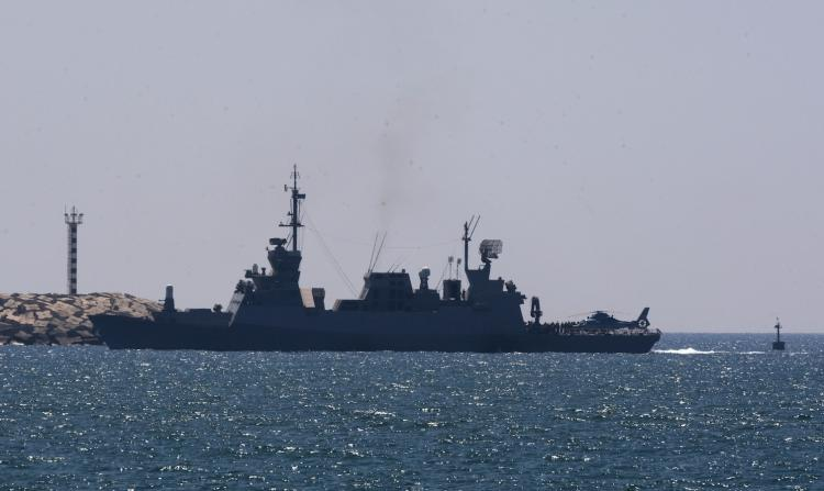Israeli military vessel 'CORVETTE' model 'SAAR 5' enters the southern navy port of Ashdod on May 31, after several people were killed when Israeli forces stormed a boat carrying pro-Palestinian activists bound for Gaza. (Jack Guez/Getty Images)