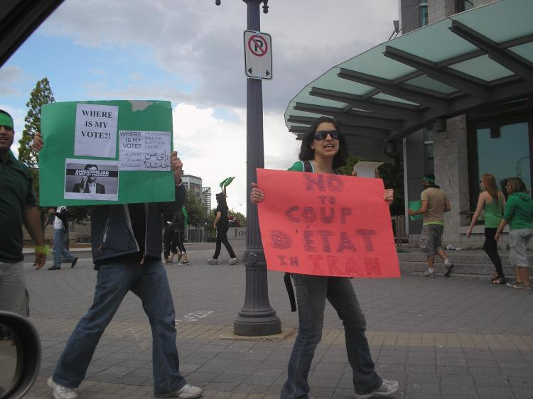 Iranian students at Queen's University protest the June 12 election results in Iran. (Kathy Xu/The Epoch Times)