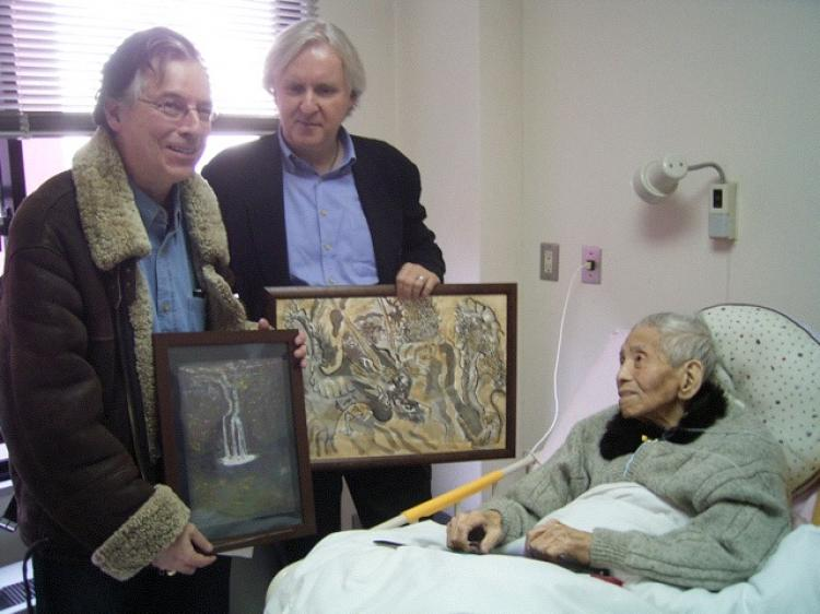 DOUBLE SURVIVOR: (L-R) Charles Pellegrino and James Cameron visit with Yamaguchi Tsutomu , a survivor of both atomic bombings in Hiroshima and Nagasaki. Pellegrino has written a book about Tsutomu's experience, and Cameron is reported to be developing a film on the subject. (Courtesy of Takiseeds)