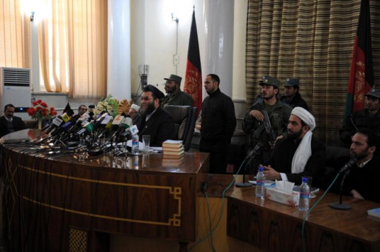 The head of a special tribunal judge Sidiqullah Haqiq (3L) speaks during a news conference at a court in Kabul on January 19, 2011.  (Shah Marai/AFP/Getty Images)