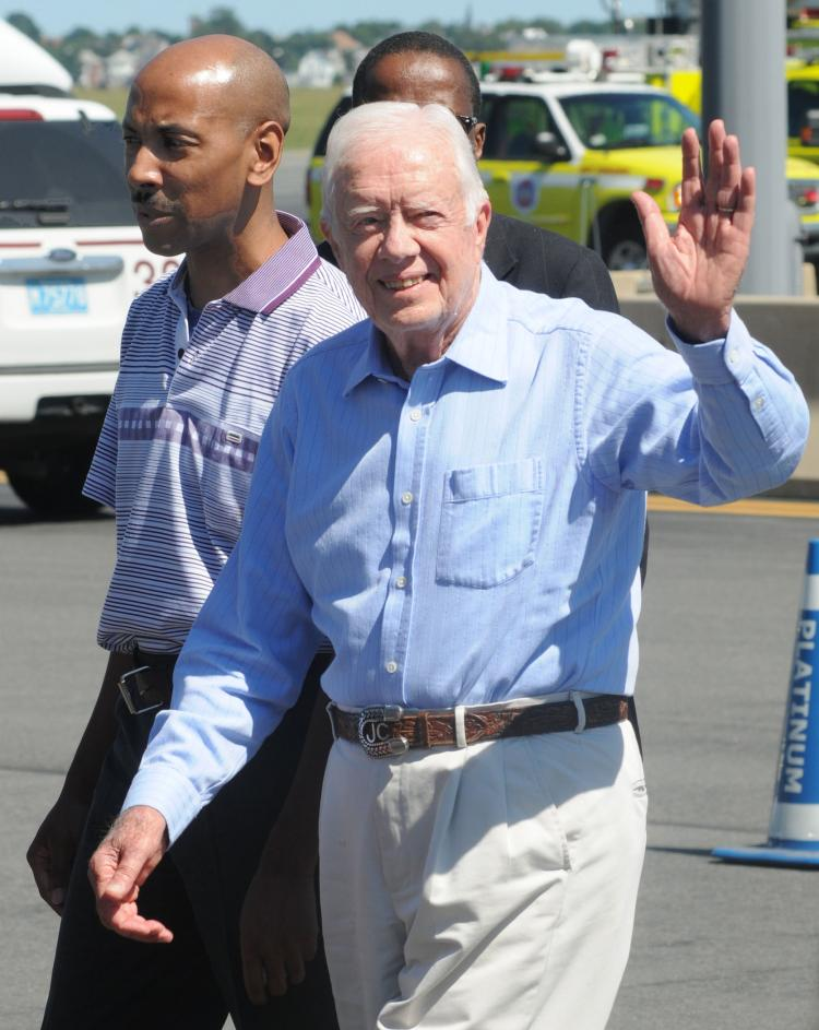 Jimmy Carter, the former president, was released from an Ohio hospital on Thursday. (John Mottern/AFP/Getty Images)