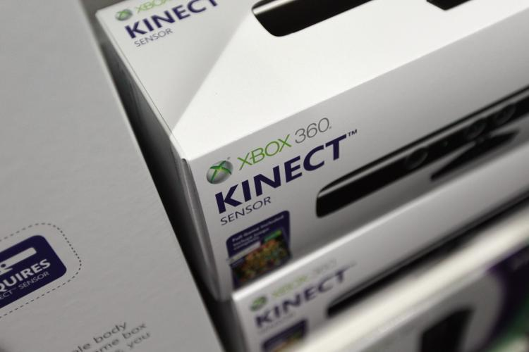 Kinect, the sensor device for Microsoft's Xbox gaming system, is seen on a shelf at Best Buy during the month of November. More than 2.5 million have been sold since it made its debut earlier this month. (Joe Raedle/Getty Images)