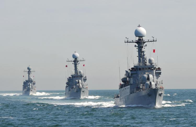 South Korean Navy Patrol Combat Corvettes stage an anti-submarine exercise at off the western coast town of Taean on May 27. Russian authorities said that they would not support any sanctions against North Korea unless it received '100 percent proof.'  (Kim Jae-Hwan/Getty Images)